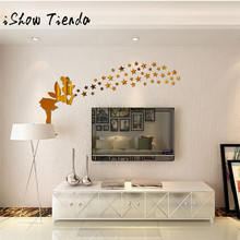 1pcs Angel stickers muraux Fashion Art Design Removable DIY Acrylic 3D Mirror Wall Decal Wall Stick Family Decoration Home Decor(China)