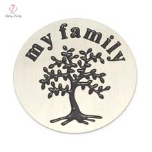 2016 New Design My Family Tree Plate letter 22mm 316L Stainless Steel Silver plates for 30mm Floating glass Lockets LFSP044(China)