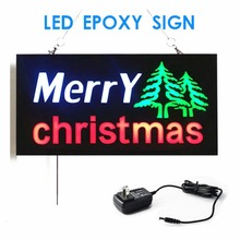 New Merry Christmas LED Shop Open Signs flicker Business LED OPEN SIGN Animated Motion DISPLAY +On/Off Switch Bright Light neon(China)