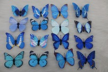 16pcs/lot 8CM Simulation of Paper Handmade Blue Series Butterfly Fridge Decorative Magnet Sticker Educational Model Kids Toys