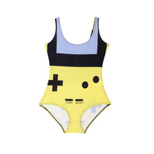 HOT Custom Tankinis Set Sexy Bodysuit GAMER YELLOW SWIMSUIT Printing Digital Black Swimwear Women Sst-1051