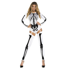 2017 New Women Halloween Costume Sexy Tight Fitting Evil Ghost SKELETON COSTUME Role Playing Costumes Women Cosplay Jumpsuit