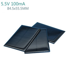 Aoshike 5Pcs Solar Panels Solar Battery Power Solars Charging Solar DIY Rechargeable Batteries 5.5V 100mA 84.5x55.5MM(China)