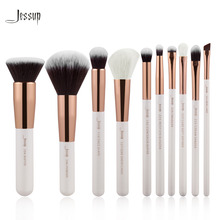 Jessup Brand Pearl White/Rose Gold Professional Makeup Brushes Set Make up Brush Tools kit Foundation Powder Buffer Cheek Shader