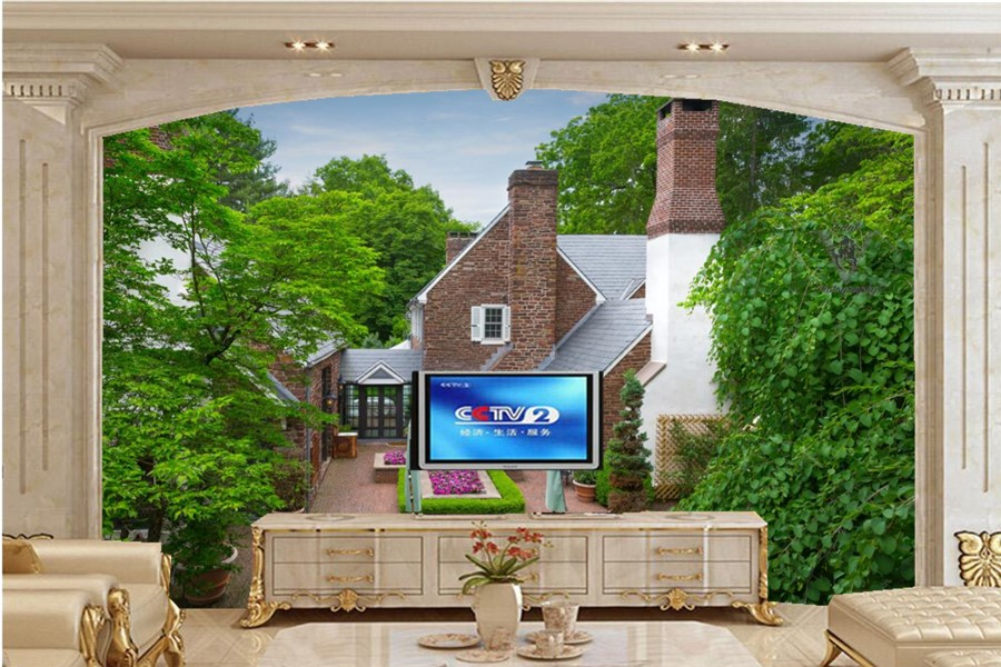 Large murals,Houses Fountains Mansion Design Trees Cities wallpapers,living room sofa TV wall bedroom wallpaper papel de parede<br>