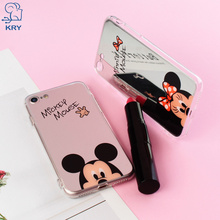 KRY Mirror Phone Cases iPhone 6 Case iPhone 7 Cases 6 6S 8 Plus TPU Mickey Minnie Cover iPhone X Case 5 5S SE Capa