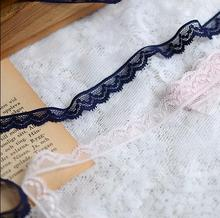 10 Meters/lot 1.3cm Width Blue Pink Stretchy Lace Trim Headband Elastic Lace Ribbons Fabric