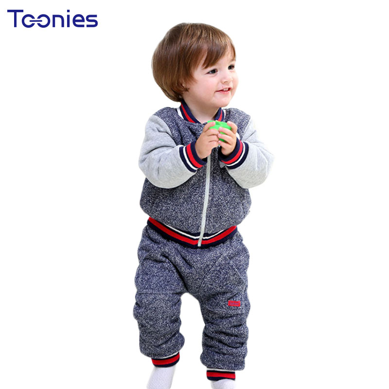 Thick Suits for Baby 2018 Winter Cashmere Toddler Clothes Cartoon Patchwork Coat + Pants 2 Pcs Fashion Kid Clothing Set Hot Sale<br>