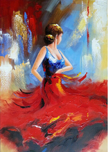 Art - Flying Skirt 100% Hand-painted Modern Wall Art for Home decoration Abstract Girl Dancing Oil Painting on Canvas Art Work