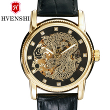 HVENSHI double hollow men's mechanical watch dragon embossed diamond scale, round fluorescent pointer 50M waterproof watch