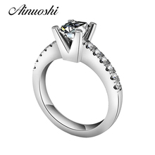 AINUOSHI Promotion Price Women Wedding Ring 925 Sterling Silver Princess Cut Semi Mount Settings Ring High Quality Lady Jewelry