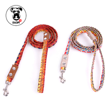 Pet Nylon National Style Weave Dog Traction Rope Rainbow Color Dog Leash Outdoor Dogs Lead for Daily Walking Small Dog Trainning