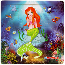 "20pcs 6""*6"" Toddler Toy Cartoon Mermaid Pattern Wooden Jigsaw Puzzle for Children/Kids by SnoweeGao(China)"