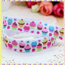 5/8'' Free shipping Fold Over Elastic FOE cupcake printed headband headwear hair band diy decoration wholesale OEM B592