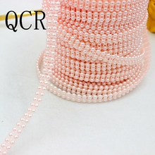 New Color Pink/Blue 2Meters 9mm(Double 4mm pearls) Craft ABS Half Round Flatback Imitation Pearl Beads Chain For DIY Decoration(China)