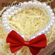 BENMEI Dog Pearls Red Color Bowknot Necklace Collars Pet Puppy Cat Jewelry Dog Fashion Collars Puppy Necklace(China)