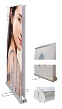 both side display diffrence image aluminum roll up banner with water proof graphic(China)