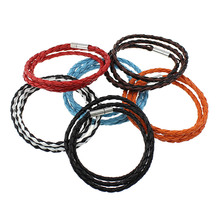3strand Punk Rock Jewelry PU Leather Cord Bracelet Anchor Bracelet Wristband Charm Braclet Bangle For Male Accessories 23 Inch