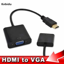 Kebidu 1080P For HDMI to VGA Cable Male To Female Adapter Video Converter Digital to Analog HDMI2 VGA For Laptop/PC(China)