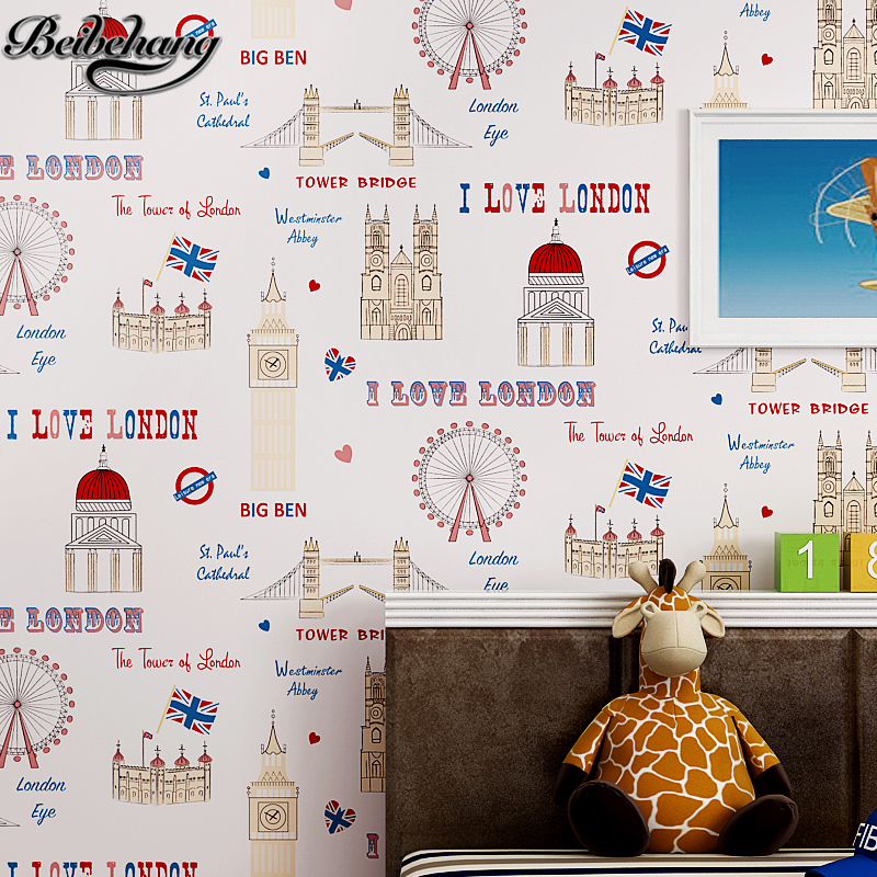 beibehang papel de parede Cute Cartoon Kids Room Wallpaper Mediterranean English Wallpaper Nonwovens Bedroom Room Wall Wallpaper<br>