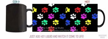 colorful doggy dog paws dog mugs morph  gifts magical heat reveal heat sensitive Black colour change morphing coffee Tea