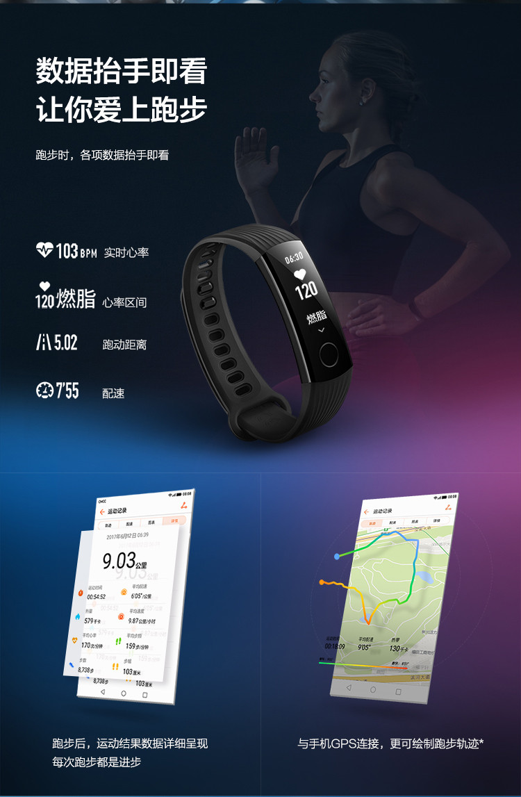 Original Huawei honor 3 Smart Wristband,0.91inch PMOLED Large Screen,50 meters Waterproof,Heart Rate Monitor,Push Messages