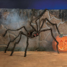 200x35x15cm Black Giant Hairy Spider Red LED Light Eyes Spider Toy Halloween Decoration Scary Plush Spider Toy Jokes Prank
