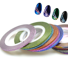 STZ 2mm 12 Rolls/Lot Color Mixed Gold Silver Glitter Nail Art Striping Sticker Tape Line DIY Tips Guide 3D Tips Tools NC393