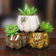 7.5**7.5*6.8cm Ceramic pots small pumpkin Huarong Korea succulents pots container pots desk