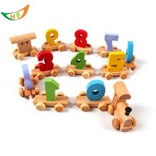 Children wooden locomotive Arabic numerals track train set cheap toys matchbox miniature trucks Early education Wood model train(China)