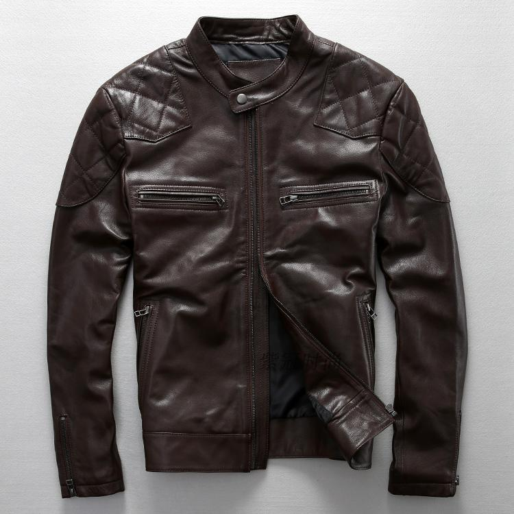 2017 The new Star Same paragraph Do the old Cowhide Collar Locomotive Men's leather jackets Men's leather motorcycle