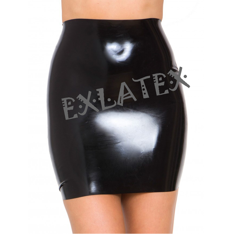 Latex Skirt Women Pencil Latex Rubber Gummi Black Short Skirt  Lolita School Skirt Fetish Mini Skirt(China)