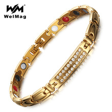 WelMag Magnetic Bracelets & Bangles Germanium Healthy Zircon crystal Bracelets Jewelry for Women Healing Hologram Bracelets(China)