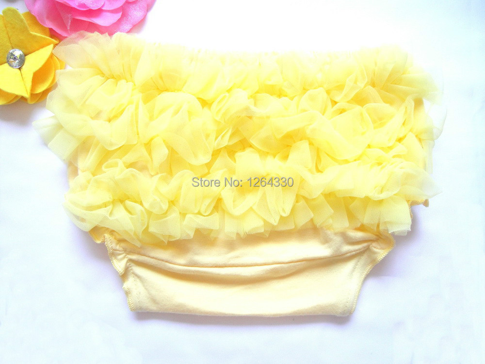 Hot sale chiffon ruffle pants toddler baby bloomers cotton ruffled panties baby yellow shorts KP-CR034(China)