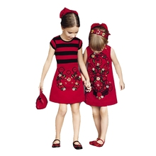 Latest  Girl Red One Piece Sister Dress Kids Evening Dress With Floral Pattern Hgih Quality Embroidery 2-12 Y  None Sleeve