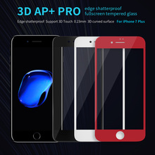 For iPhone 7 plus tempered glass NILLKIN 3D AP+ Pro edge shatterproof fullscreen tempered glass For apple iphone 7 plus 5.5 inch