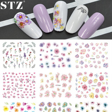 STZ 11 Designs/lot Fashion Adhesive Glue Tips DIY Nail Art 3d Colorful Flowers Stickers Makeup Salon Women Beauty Tools E358-368
