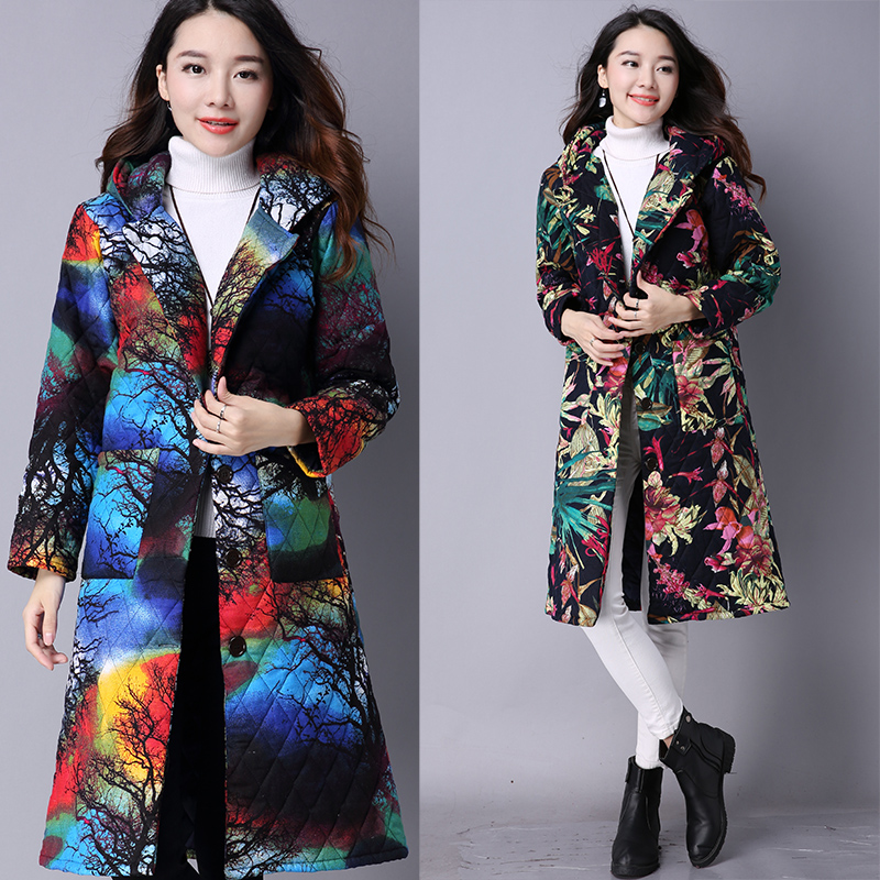 Autumn and winter thin large code in the long hooded printing folder cotton national wind women s cotton coatОдежда и ак�е��уары<br><br><br>Aliexpress