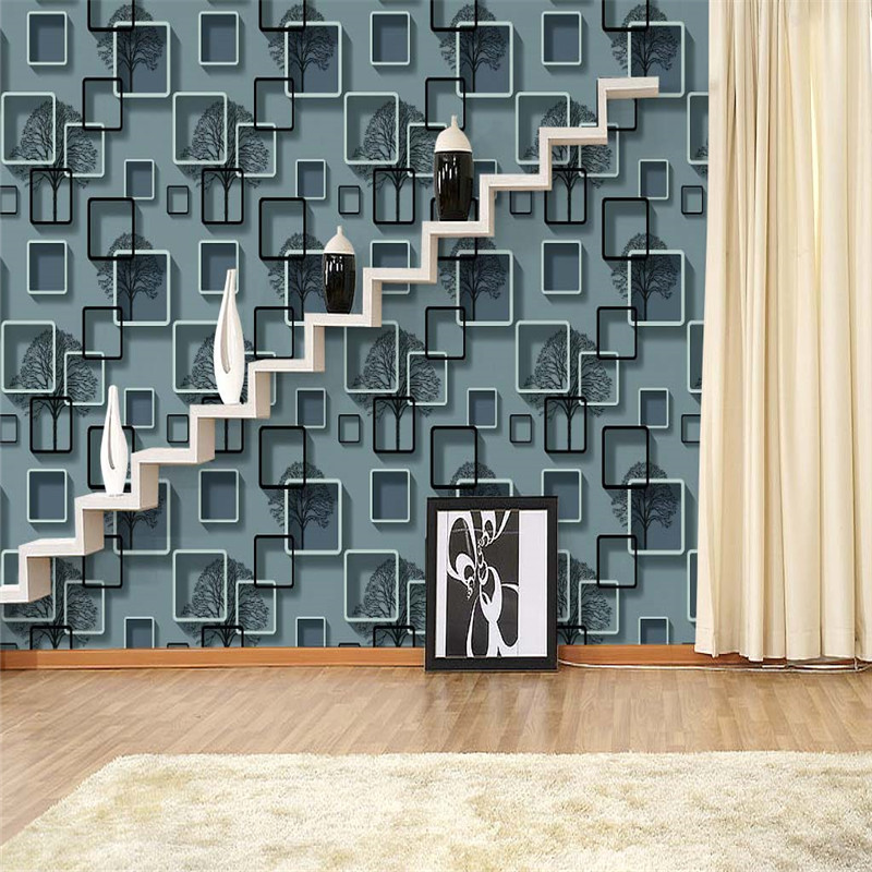modern 3d wallpaper fashion photo PVC wallpaper abstract simple checked boughs wallpaper sitting room background wallpaper<br>
