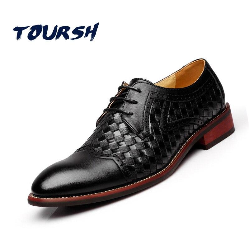 TOURSH British Style Men Dress Shoes Party Wedding Crocodile Leather Black Brown Men Oxford Shoes Brogue Lace Up Zapatos Hombre<br>