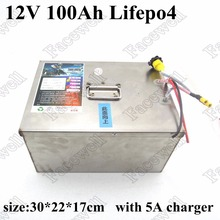 100 ah 12v LiFePO4 Deep Cycle Battery 12V LiFePO4 Battery Pack 12V 100Ah lithium iron phosphate battery for solar panel +charger(China)