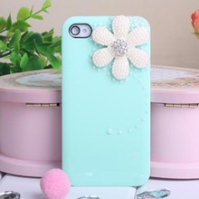 1PC Pearl Daisy Candy Hard Bling Back Case For Sprint iPhone 4 4G 4S AT&T L Blue(China)