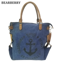 BEARBERRY 2017 high quality printed letters and anchor shoulder bags multifunctional large size Tote Handbag holiday bags(China)