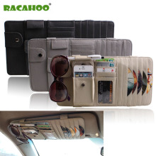 RACAHOO Car Leather Multifunction CD Storage Box Car Sun Visor CD Case for DVD Case Glasses Folder Business Card Holder CD Bag(China)