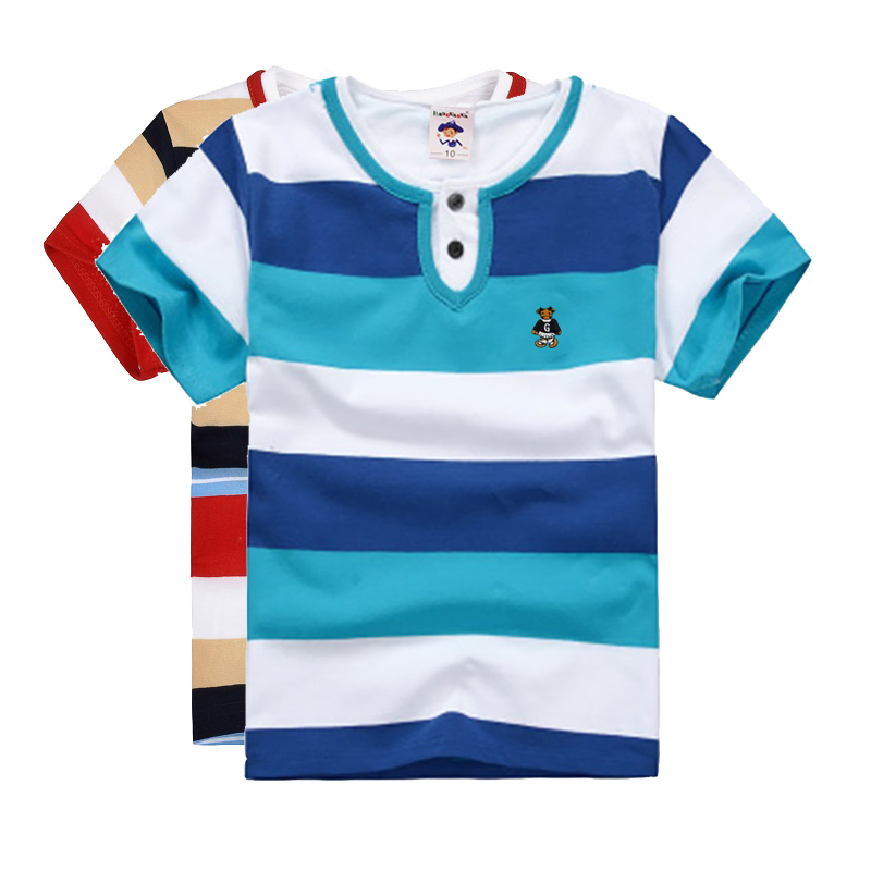 High Qual kids summer clothing boys t shirt short sleeve v-neck striped cotton clothes 2 4 6 8 10 12 14 years