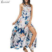 Gamiss Floral Bowknot Cut Out Long Dress Women Blackless High Split Maxi Dress Womens Clothing Summer Vestidos Party Dresses(China)