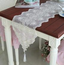 Modern cotton white table runner cloth cover organza embroidery doilies lace bed placemat tablecloth for wedding decoration