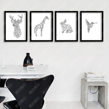 P24 Black and white lines elk animal canvas art print poster decorative wall picture house Ornaments Frame not include
