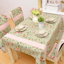 Household Romantic Pastoral Style Lace Green Square Tablecloths Cotton Printed Fabric Cloth Table Cover Table Cloth Rectangular