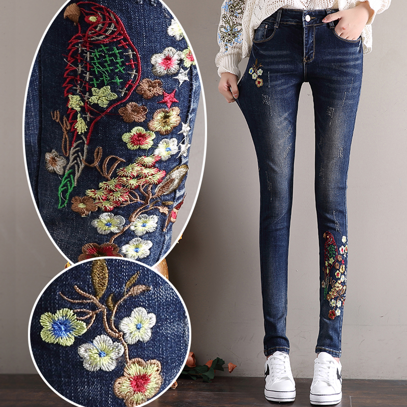 2017 Spring and Autumn Women Jeans Bird Floral 3D embroidery High Waist Ladies Straight Denim Pants Jeans Bottoms big size 26-32Îäåæäà è àêñåññóàðû<br><br>